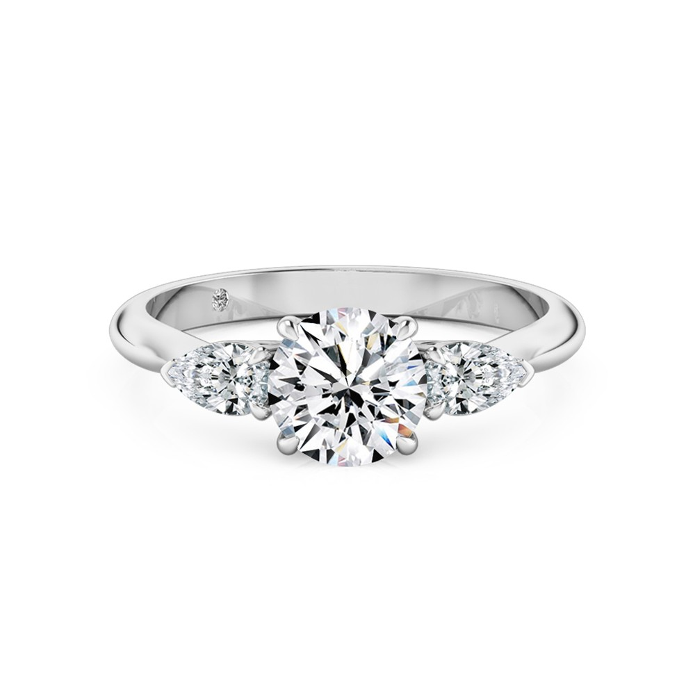 Round Cut Trilogy Diamond Engagement Ring 18K White Gold
