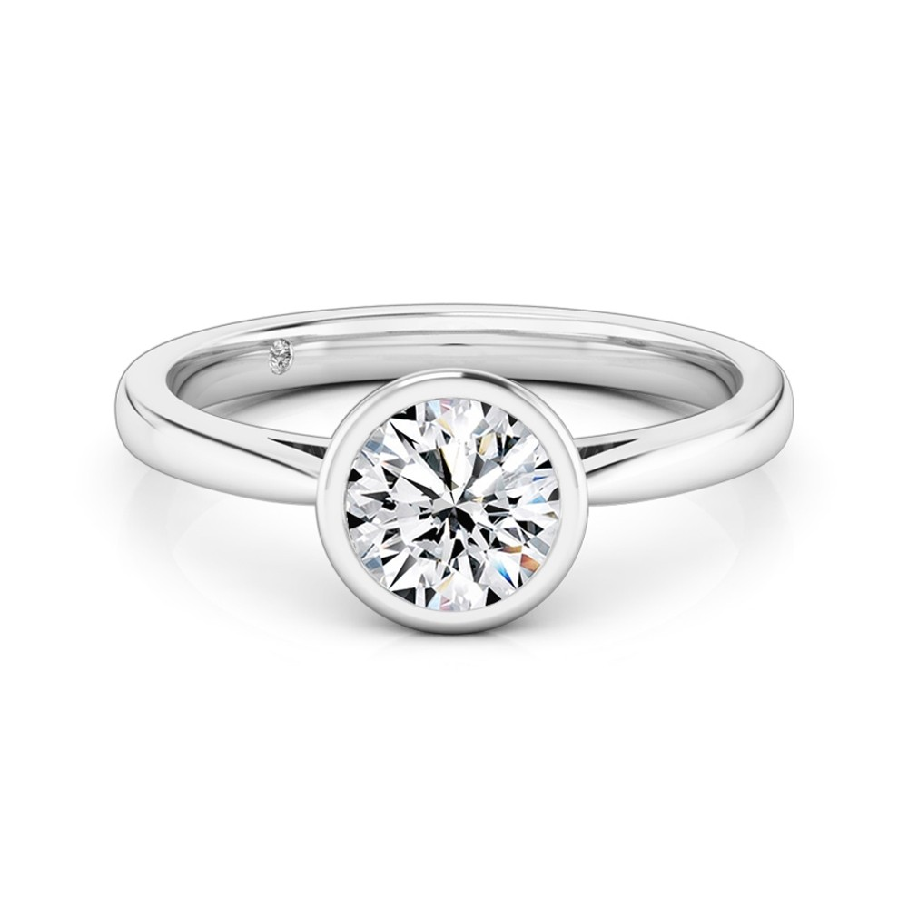 Round Cut Solitaire Diamond Engagement Ring 18K White Gold