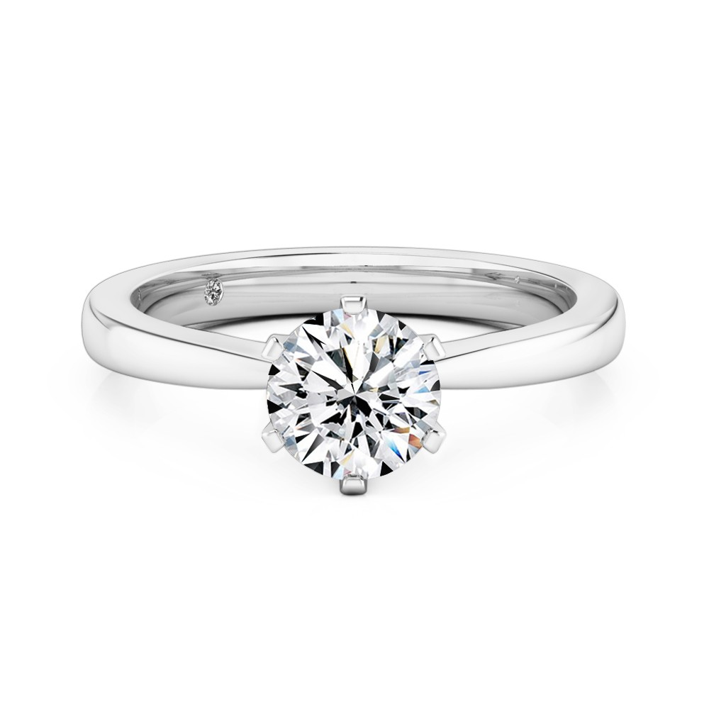 Round Cut Solitaire Diamond Engagement Ring Platinum