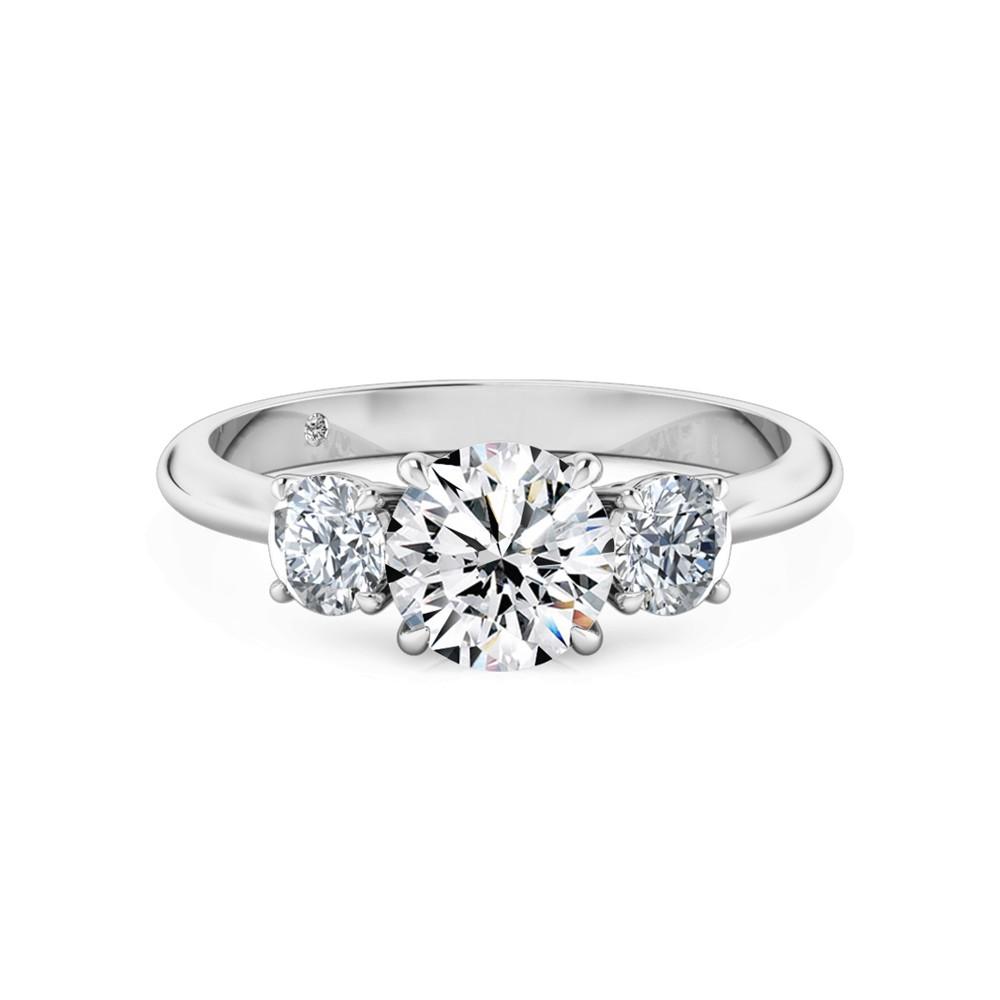 Round Cut Trilogy Diamond Engagement Ring 18K White Gold