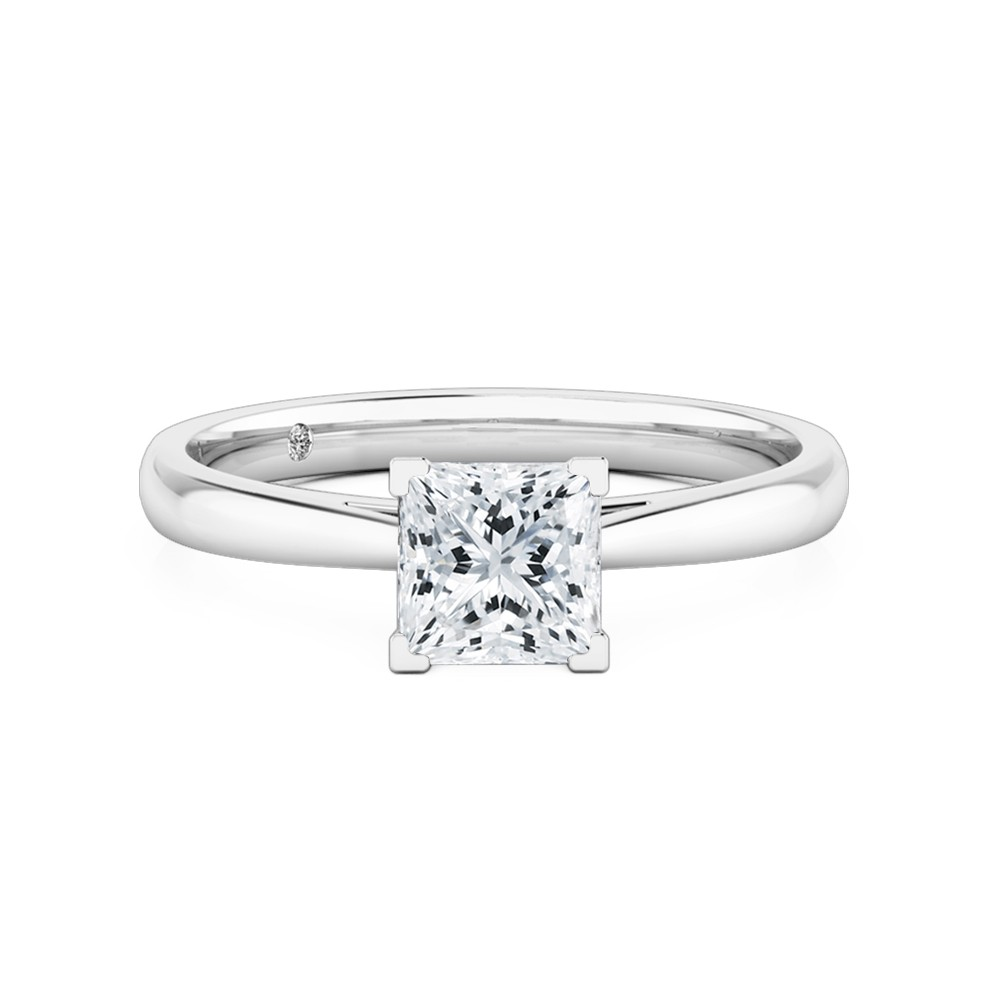 Princess Cut Solitaire Diamond Engagement Ring 18K White Gold