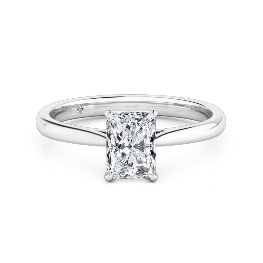 Radiant Cut Solitaire Diamond Engagement Ring 18K White Gold