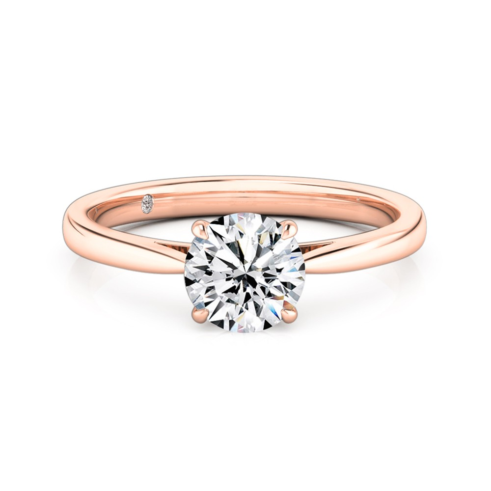 Round Cut Solitaire Diamond Engagement Ring 18K Rose Gold