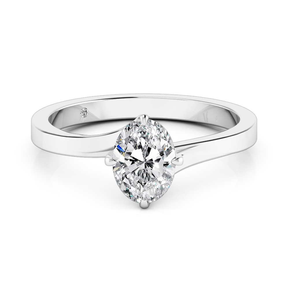 Oval Cut Solitaire Diamond Engagement Ring 18K White Gold