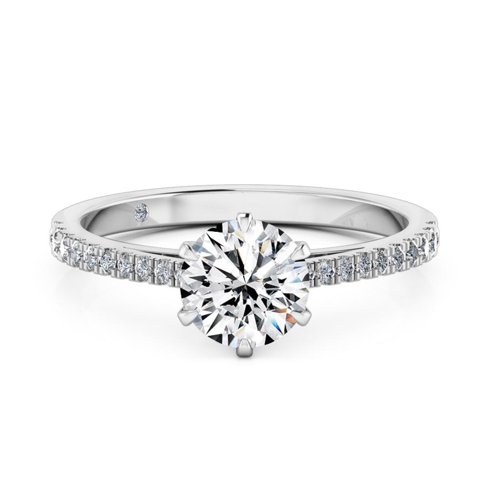 Round Cut Diamond Band Diamond Engagement Ring 18K White Gold