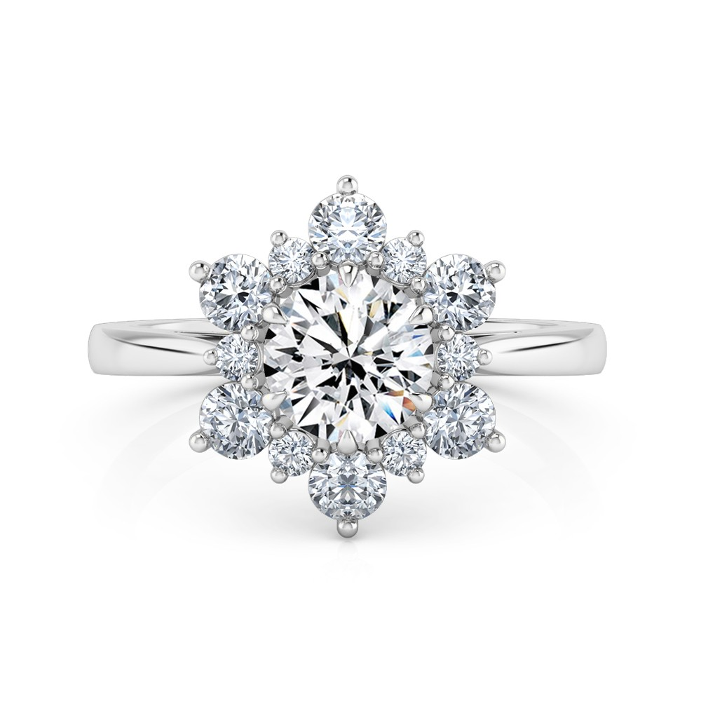 Round Cut Halo Diamond Engagement Ring 18K White Gold