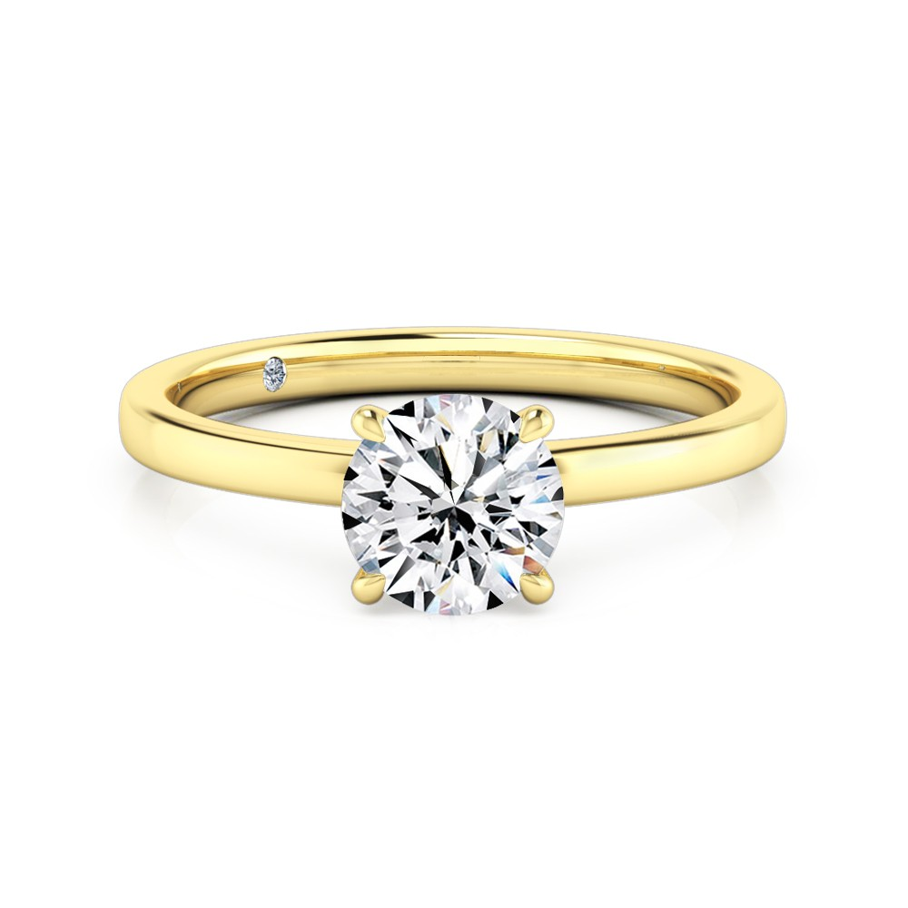 Round Cut Solitaire Diamond Engagement Ring 18K Yellow Gold