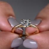 heart Cut Diamond Engagement Ring 18K yellow gold