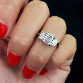 emerald Cut Diamond Engagement Ring 18K white gold