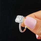 asscher Cut Diamond Engagement Ring 18K white gold