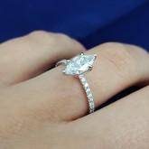 marquise Cut Diamond Engagement Ring 18K white gold