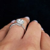 radiant Cut Diamond Engagement Ring 18K white gold