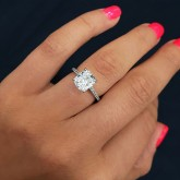 cushion Cut Diamond Engagement Ring 18K white gold