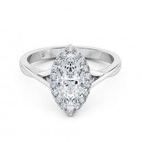 Marquise Cut Halo Diamond Engagement Ring 18K White Gold