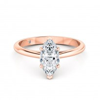 Marquise Cut Solitaire Diamond Engagement Ring 18K Rose Gold