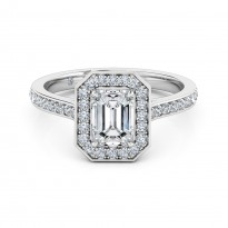 Emerald Cut Halo Diamond Engagement Ring 18K White Gold