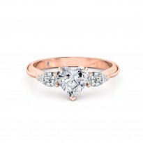 Heart Cut Trilogy Diamond Engagement Ring 18K Rose Gold