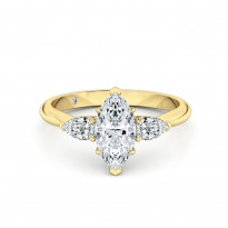 Marquise Cut Trilogy Diamond Engagement Ring 18K Yellow Gold