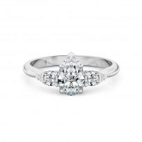 Pear Cut Trilogy Diamond Engagement Ring 18K White Gold