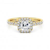 Asscher Cut Halo Diamond Engagement Ring 18K Yellow Gold