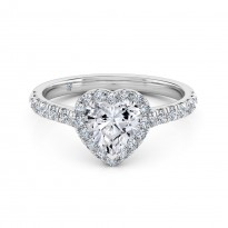 Heart Cut Halo Diamond Engagement Ring 18K White Gold