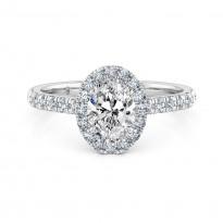 Oval Cut Halo Diamond Engagement Ring 18K White Gold