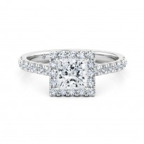 Princess Cut Halo Diamond Engagement Ring 18K White Gold