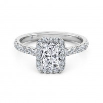 Radiant Cut Halo Diamond Engagement Ring 18K White Gold