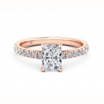 Radiant Cut Diamond Band Diamond Engagement Ring 18K Rose Gold