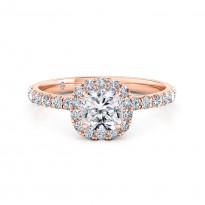 Cushion Cut Halo Diamond Engagement Ring 18K Rose Gold
