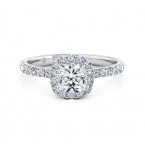 Cushion Cut Halo Diamond Engagement ring 18K White Gold