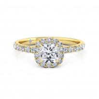Cushion Cut Halo Diamond Engagement Ring 18K Yellow Gold