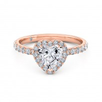 Heart Cut Halo Diamond Engagement Ring 18K Rose Gold