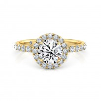 Round Cut Halo Diamond Engagement Ring 18K Yellow Gold
