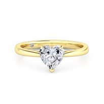 Heart Cut Solitaire Diamond Engagement Ring 18K Yellow Gold
