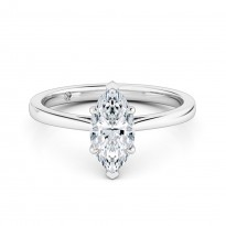 Marquise Cut Solitaire Diamond Engagement Ring 18K White Gold