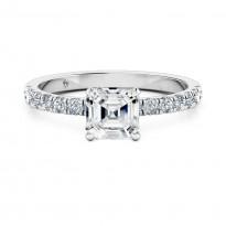 Asscher Cut Diamond Band Diamond Engagement Ring 18K White Gold