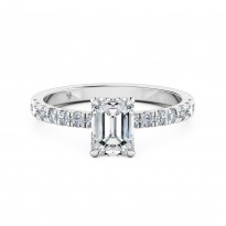 Emerald Cut Diamond Band Diamond Engagement Ring 18K White Gold