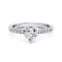 Heart Cut Diamond Band Diamond Engagement Ring 18K White Gold