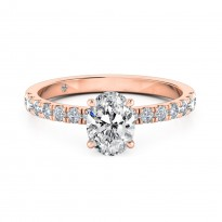 Oval Cut Diamond Band Diamond Engagement Ring 18K Rose Gold