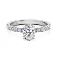 Oval Cut Diamond Band Diamond Engagement Ring 18K White Gold
