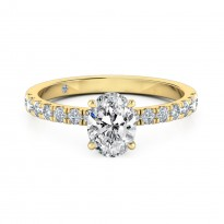 Oval Cut Diamond band Diamond Engagement ring 18K Yellow Gold