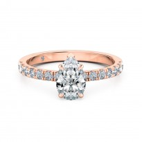 Pear Cut Diamond Band Diamond Engagement Ring 18K Rose Gold