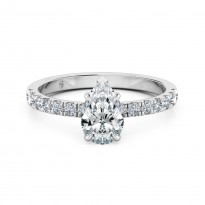 Pear Cut Diamond Band Diamond Engagement Ring 18K White Gold