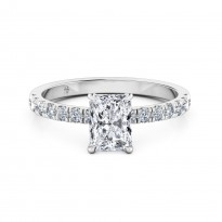 Radiant Cut Diamond Band Diamond Engagement Ring 18K White Gold
