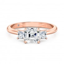 Asscher Cut Trilogy Diamond Engagement ring 18K Rose Gold
