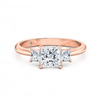 Princess Cut Trilogy Diamond Engagement Ring 18K Rose Gold