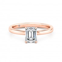 Emerald Cut Solitaire Diamond Engagement Ring 18K Rose Gold