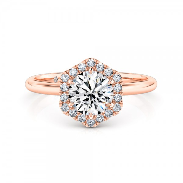 Round Cut Halo Diamond Engagement ring 18K Rose Gold