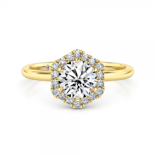 Round Cut Halo Diamond Engagement ring 18K Yellow Gold